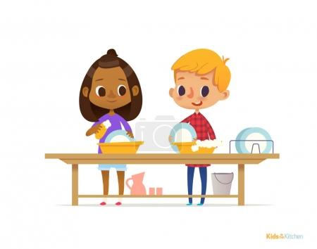Two happy multiracial kids washing dishes isolated on white background. Children cleaning tableware. Montessori engaging educational activities concept. Vector illustration for flyer, banner, poster.