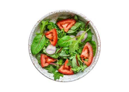 Photo pour Healthy salad (tomato, mix leaves, onions and other ingredients) vegan top, keto or paleo menu concept. food background. copy space - image libre de droit