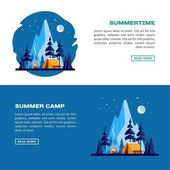Summer camp. Night landscape with yellow tent, campfire, forest and mountains on the background. Sport, camping, adventures in nature, vacation, and tourism vector banner.
