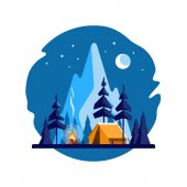 Summer camp. Night landscape with yellow tent, campfire, forest and mountains on the background. Sport, camping, adventures in nature, vacation, and tourism vector illustration.