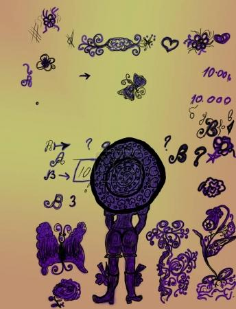 Girl drawing an aged grunge with scattered symbols and letters