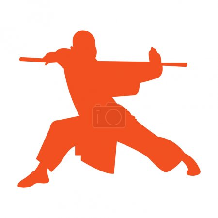 Shaolin monk kung fu stand silhouette...