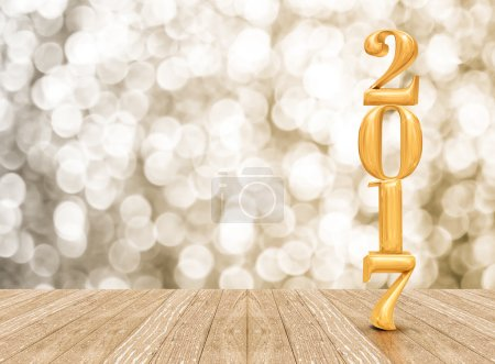 2017 (3d rendering) new year gold color  in perspective room wit