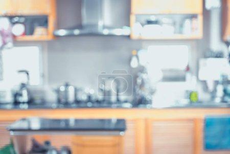 Photo pour Fond flou, Cuisine moderne avec lumière bokeh, filtre vintage . - image libre de droit
