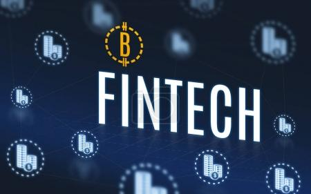 Fintech with bitcoins and money icon floating on navy blue tech
