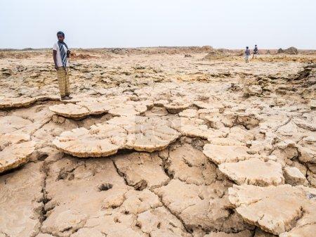 People walking across mineral soil