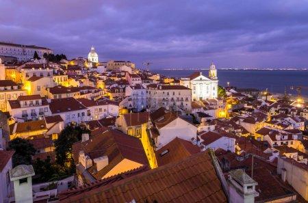Cityscape of Lisbon at night