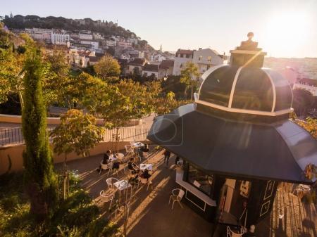 LISBON, PORTUGAL - NOVEMBER 19, 2017: Jardim da Cerca da Graca in Lisbon, Portugal, at sunset.