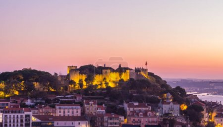 LISBON, PORTUGAL - NOVEMBER 19, 2017: night cityscape of Lisbon, Portugal