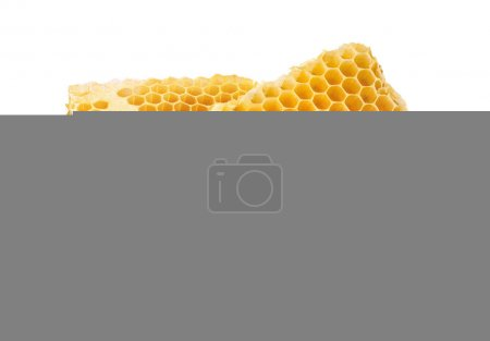 Photo for Honeycomb double piece. Honey slices isolated on white background with clipping path - Royalty Free Image