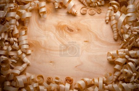 wood shavings on a wooden background