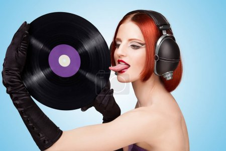 sexy gir with vinyl record