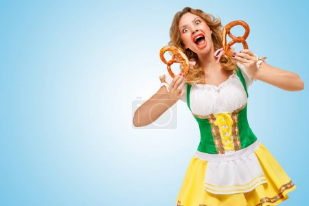 Oktoberfest woman wearing a traditional Bavarian clothes