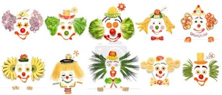 Photo for A creative set of food concepts of smiling clowns from vegetables and fruits. - Royalty Free Image