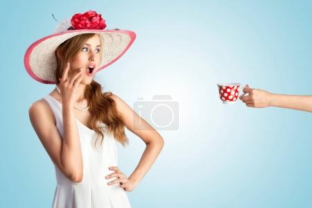 pin-up girl in vintage hat