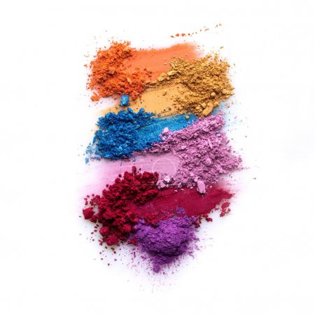 Cosmetic swatch. Creative concept photo of cosmetics swatches on white background.