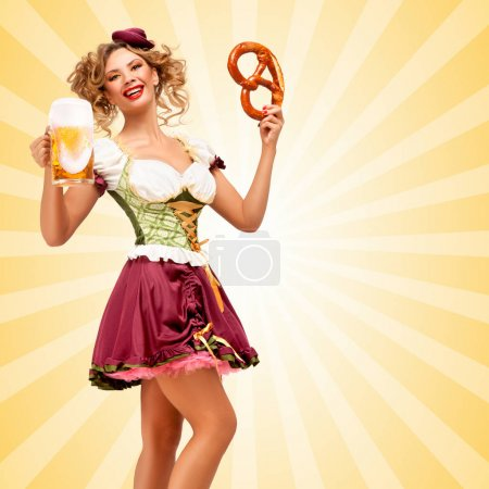 Beautiful sexy Oktoberfest waitress wearing a traditional Bavarian dress dirndl holding a pretzel and beer mug, and smiling happily on colorful abstract cartoon style background.
