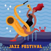 Jazz festival Creative conceptual music festival vector Woman playing musical instrument