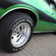 The wheel of Dodge Charger car at motor show, Bela...