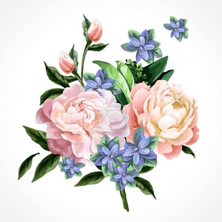 Illustration for Peonies and green leaves on a white background. - Royalty Free Image