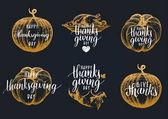 Thanksgiving letterings set vector illustration