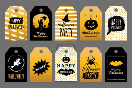 set of halloween tags