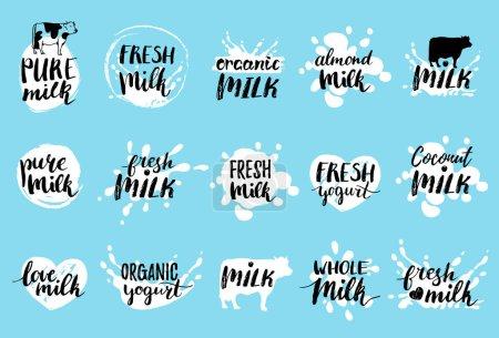Illustration pour Logos ou étiquettes de lait, illustration vectorielle - image libre de droit