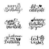 Birthday letterings set vector illustration