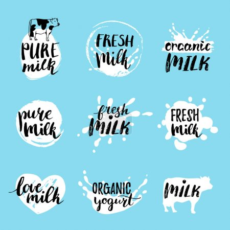 milk logos or labels set