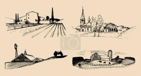 Illustration for Hand-drawn rural landscapes set, vector illustration - Royalty Free Image