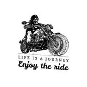 Life is a journey enjoy the ride inspirational poster Vector hand drawn skeleton rider on motorcycle