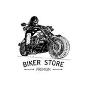 Biker store premium inspirational poster Vector hand drawn skeleton rider on motorcycle
