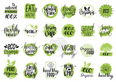 Illustration for Vector eco, organic, bio logos or signs. Vegan, healthy food illustrations set for cafe, restaurant badges, tags, packaging etc. - Royalty Free Image