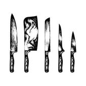 hand drawn kitchen knives set