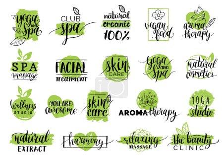 Ilustración de Conjunto de logotipos orgánicos o signos. Vegano, comida sana ilustración conjunto de café, restaurante divisas, etiquetas, envases, etc.. - Imagen libre de derechos
