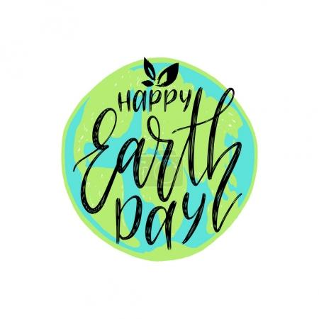Earth day text on globe