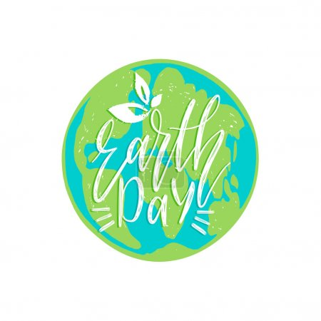 Earth day text on green globe