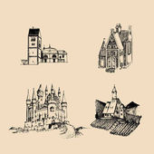 Vector medieval landscapes illustrations set Hand drawn sketches of church abbey castle etc in fields and hills