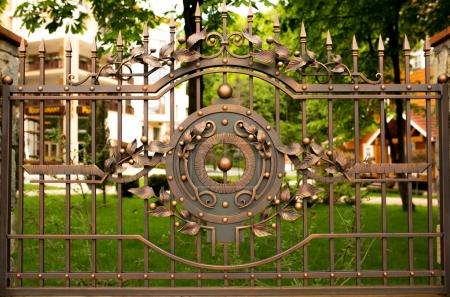Photo for Fragment of wrought iron bronze gate - Royalty Free Image