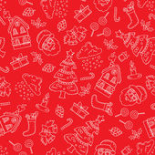 Vector seamless pattern with hand drawn symbols of Merry Christmas Happy New Year on red color Background for use in design packing web site fabric