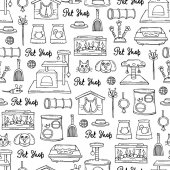 Vector seamless pattern with hand drawn isolated goods for pet shop on white color Background for use in design