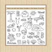 Vector set with hand drawn doodles on the theme of summer recreation travel and tourism Sketches for use in design web site packing textile fabric