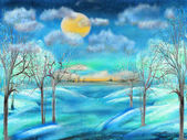 Oil painting of night winter landscape with full moon
