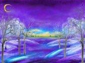 "Постер, картина, фотообои ""Вечер зимний пейзаж с деревьями"""
