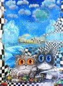 """Постер, картина, фотообои """"Две кошки на абстрактных Зимний фон"""""""