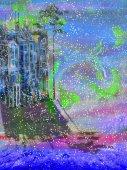 """Постер, картина, фотообои """"Абстрактные изолированных город в этой области и снегопад"""""""
