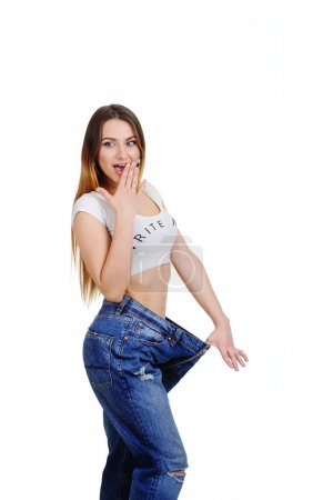 cute young girl in jeans large size.