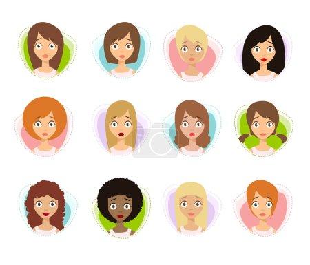 Illustration for Worried Women Faces set, vector illustration - Royalty Free Image