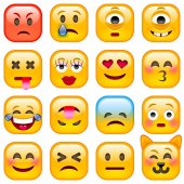 Set of Square Emoticons vector illustration