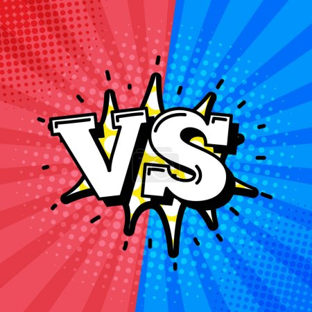 Versus sign logo in retro comic style, vector illu...